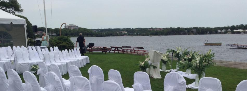 Beautiful Lake Banook backdrop to Wedding Ceremony